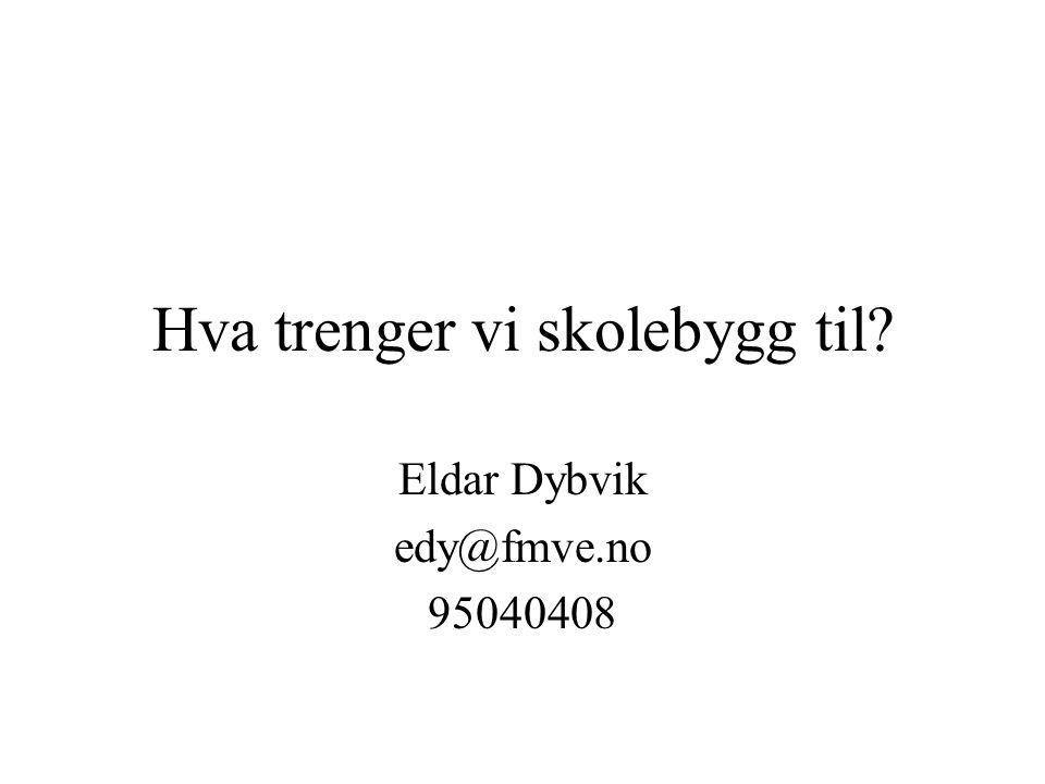 Hva trenger vi skolebygg til? Eldar Dybvik edy@fmve.no 95040408