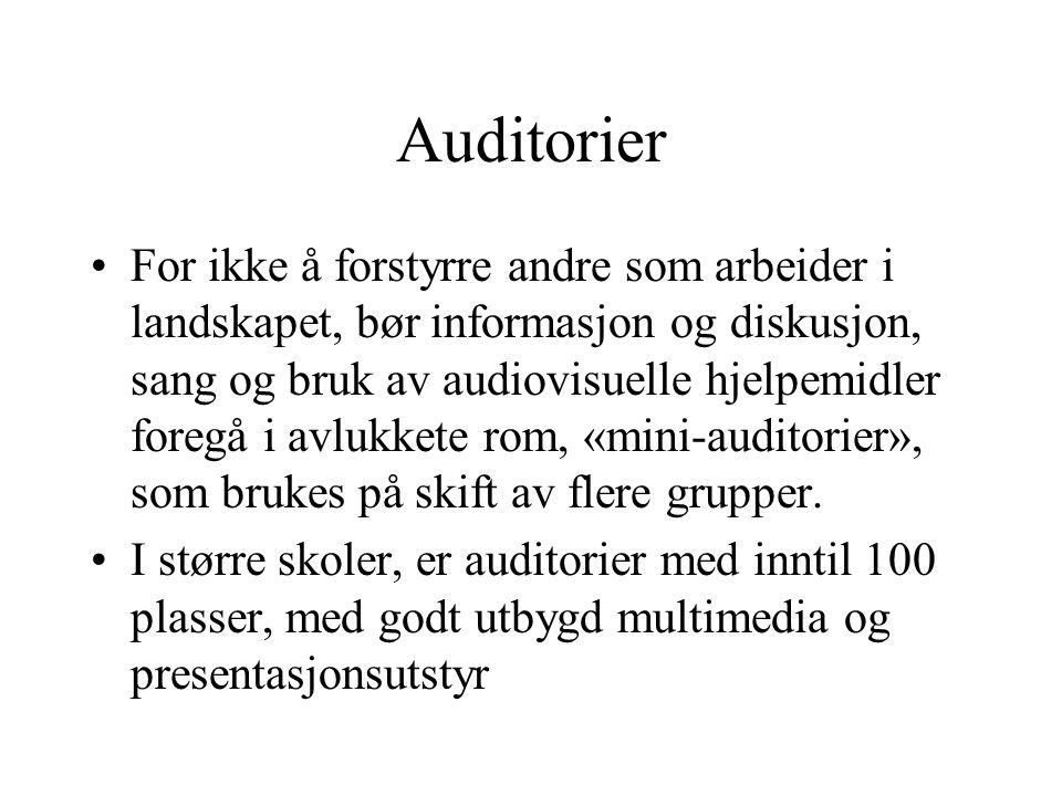 Auditorier •For ikke å forstyrre andre som arbeider i landskapet, bør informasjon og diskusjon, sang og bruk av audiovisuelle hjelpemidler foregå i av