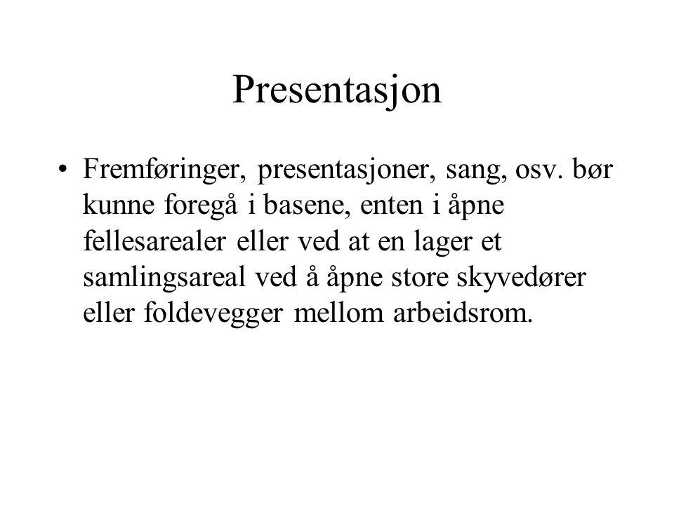 Presentasjon •Fremføringer, presentasjoner, sang, osv. bør kunne foregå i basene, enten i åpne fellesarealer eller ved at en lager et samlingsareal ve