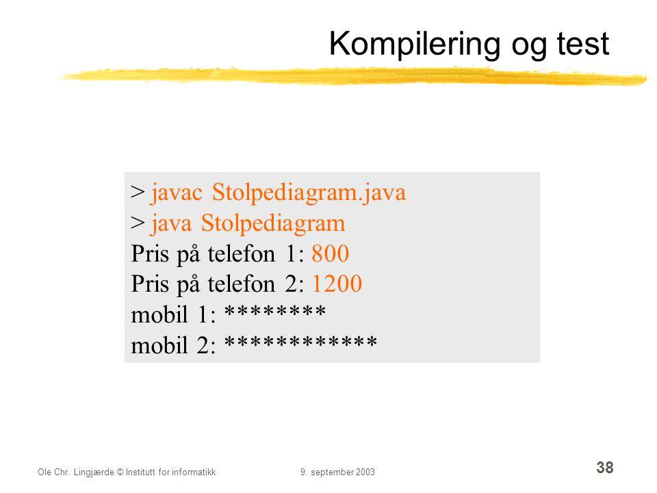 Ole Chr. Lingjærde © Institutt for informatikk9. september 2003 38 Kompilering og test > javac Stolpediagram.java > java Stolpediagram Pris på telefon