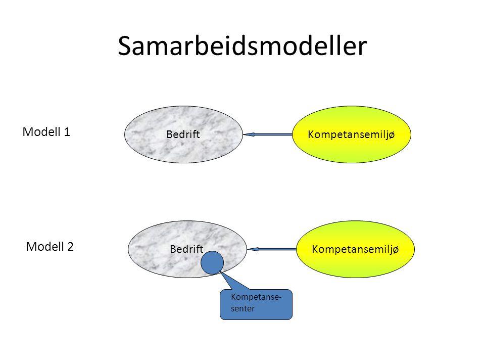 Samarbeidsmodeller BedriftKompetansemiljø BedriftKompetansemiljø Modell 1 Modell 2 Kompetanse- senter