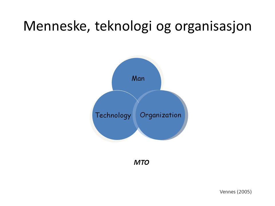 Menneske, teknologi og organisasjon Organization Man Technology MTO Vennes (2005)