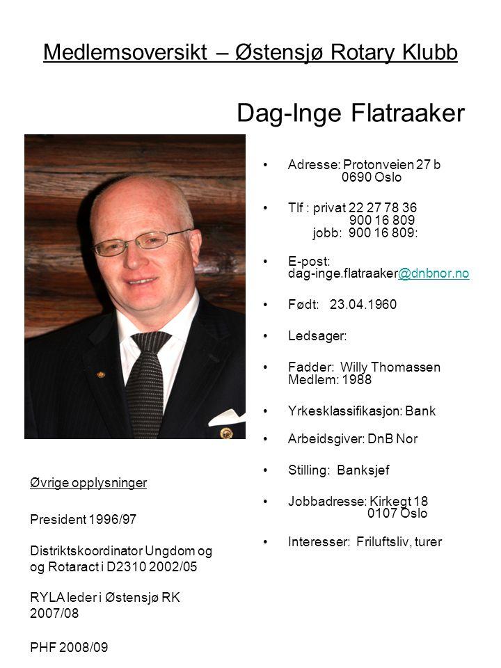 Medlemsoversikt – Østensjø Rotary Klubb Dag-Inge Flatraaker Øvige opplysninger: •Adresse: Protonveien 27 b 0690 Oslo •Tlf : privat 22 27 78 36 900 16