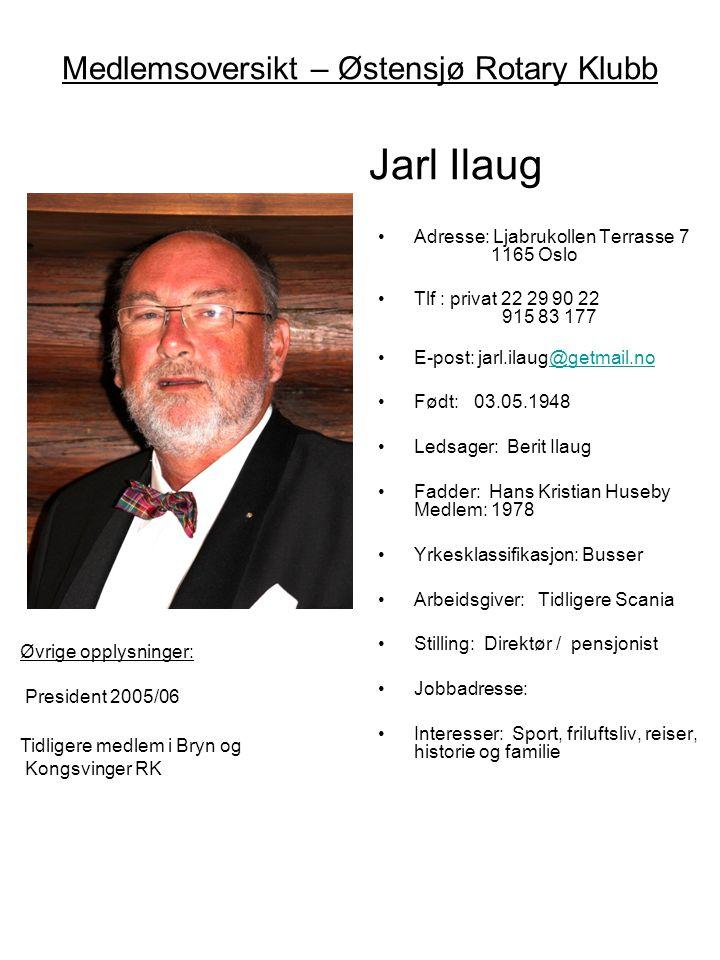 Medlemsoversikt – Østensjø Rotary Klubb Jarl Ilaug Øvige opplysninger: President 2005/06 Tidligere medlem i Bryn og Kongsvinger RK •Adresse: Ljabrukol