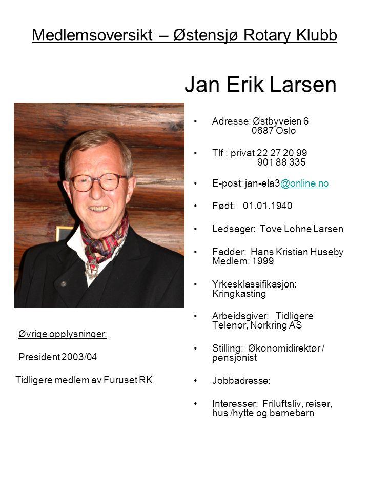 Medlemsoversikt – Østensjø Rotary Klubb Jan Erik Larsen •Adresse: Østbyveien 6 0687 Oslo •Tlf : privat 22 27 20 99 901 88 335 •E-post: jan-ela3@online