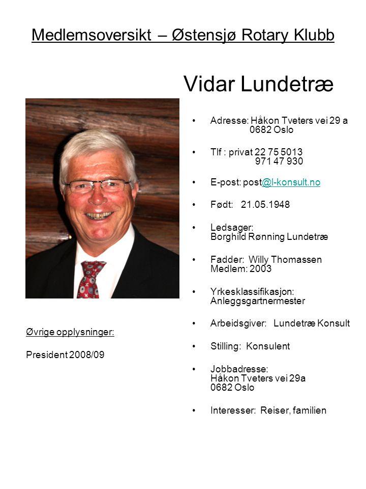 Medlemsoversikt – Østensjø Rotary Klubb Vidar Lundetræ •Adresse: Håkon Tveters vei 29 a 0682 Oslo •Tlf : privat 22 75 5013 971 47 930 •E-post: post@l-