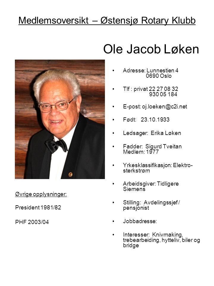 Medlemsoversikt – Østensjø Rotary Klubb Ole Jacob Løken •Adresse: Lunnestien 4 0690 Oslo •Tlf : privat 22 27 08 32 930 05 184 •E-post: oj.loeken@c2i.n
