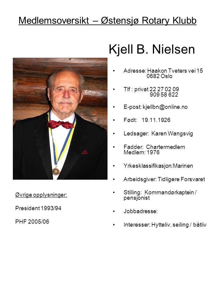 Medlemsoversikt – Østensjø Rotary Klubb Kjell B. Nielsen •Adresse: Haakon Tveters vei 15 0682 Oslo •Tlf : privat 22 27 02 09 909 58 622 •E-post: kjell