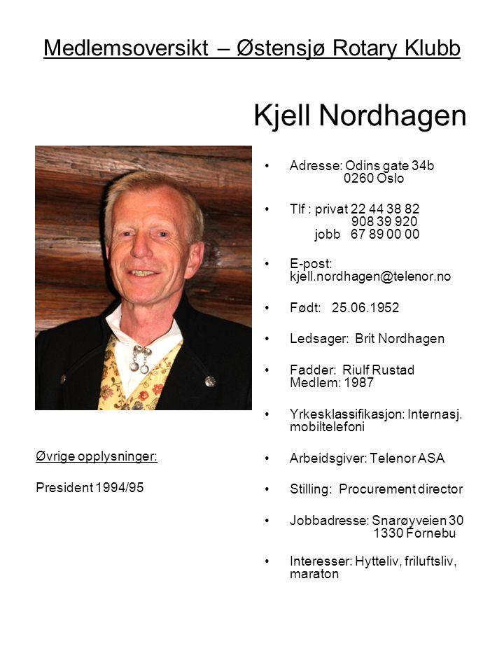 Medlemsoversikt – Østensjø Rotary Klubb Kjell Nordhagen •Adresse: Odins gate 34b 0260 Oslo •Tlf : privat 22 44 38 82 908 39 920 jobb 67 89 00 00 •E-po
