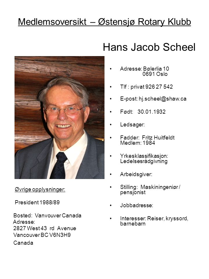 Medlemsoversikt – Østensjø Rotary Klubb Hans Jacob Scheel •Adresse: Bølerlia 10 0691 Oslo •Tlf : privat 926 27 542 •E-post: hj.scheel@shaw.ca •Født:30