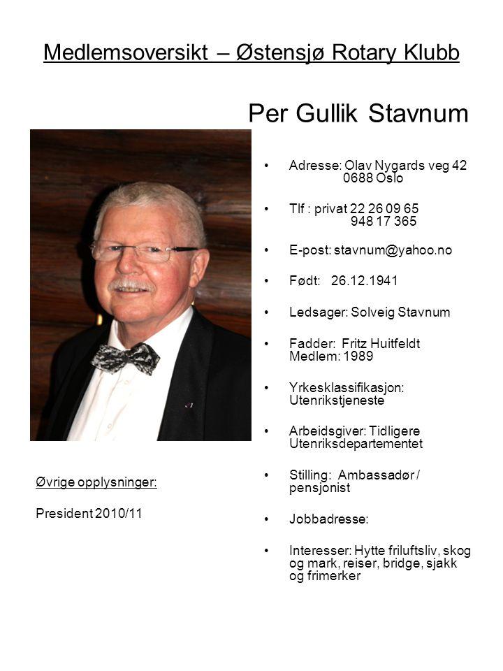 Medlemsoversikt – Østensjø Rotary Klubb Per Gullik Stavnum •Adresse: Olav Nygards veg 42 0688 Oslo •Tlf : privat 22 26 09 65 948 17 365 •E-post: stavn