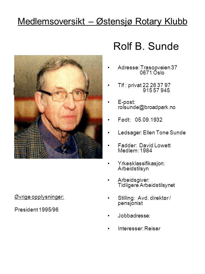 Medlemsoversikt – Østensjø Rotary Klubb Rolf B. Sunde Mangler bilde •Adresse: Trasopveien 37 0671 Oslo •Tlf : privat 22 26 37 97 915 57 945 •E-post: r
