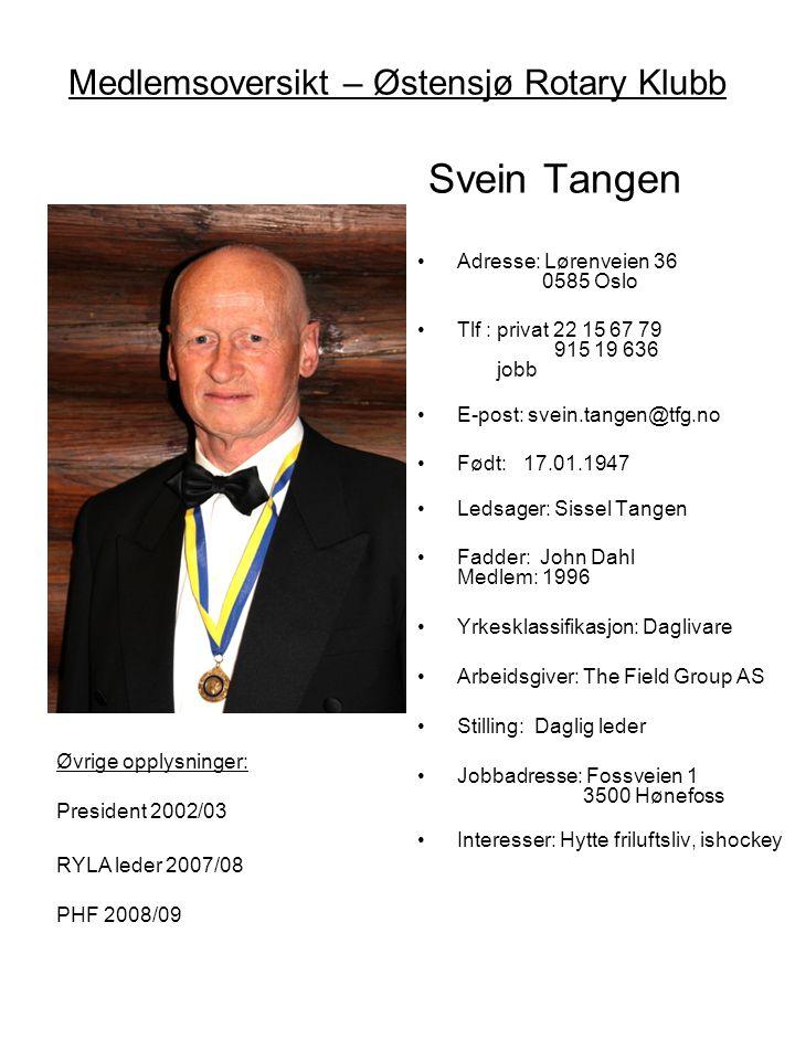Medlemsoversikt – Østensjø Rotary Klubb Svein Tangen •Adresse: Lørenveien 36 0585 Oslo •Tlf : privat 22 15 67 79 915 19 636 jobb •E-post: svein.tangen