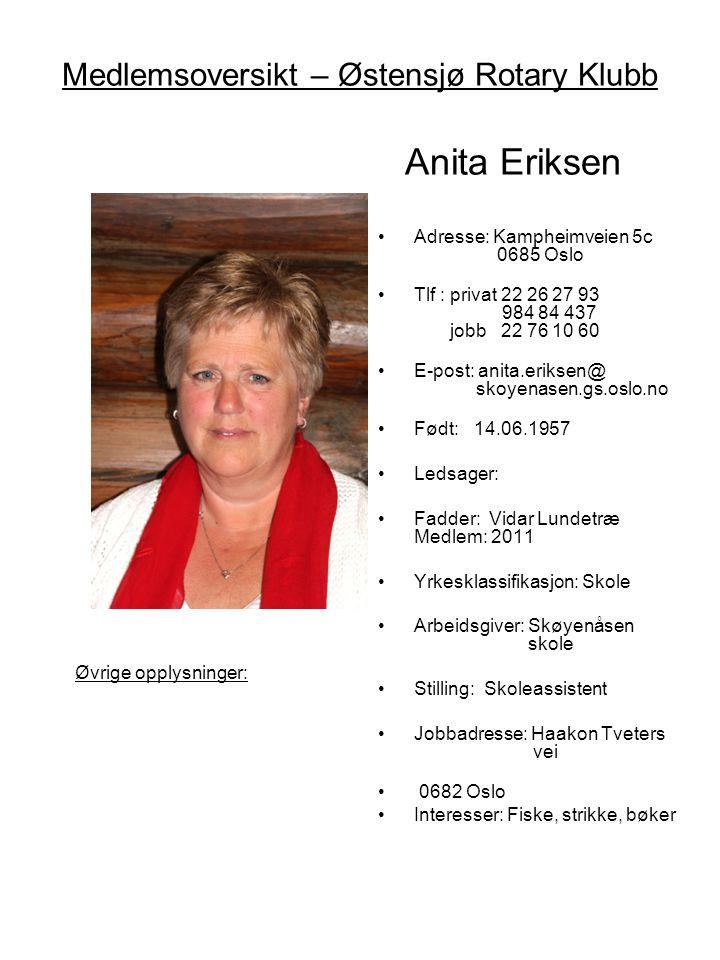 Medlemsoversikt – Østensjø Rotary Klubb Anita Eriksen •Adresse: Kampheimveien 5c 0685 Oslo •Tlf : privat 22 26 27 93 984 84 437 jobb 22 76 10 60 •E-po