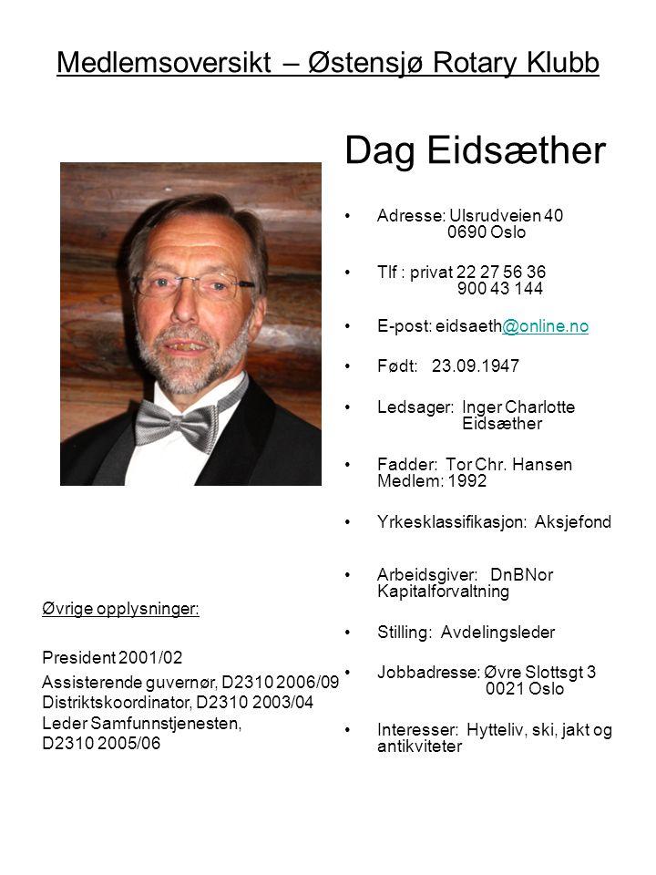 Medlemsoversikt – Østensjø Rotary Klubb Dag Eidsæther •Adresse: Ulsrudveien 40 0690 Oslo •Tlf : privat 22 27 56 36 900 43 144 •E-post: eidsaeth@online
