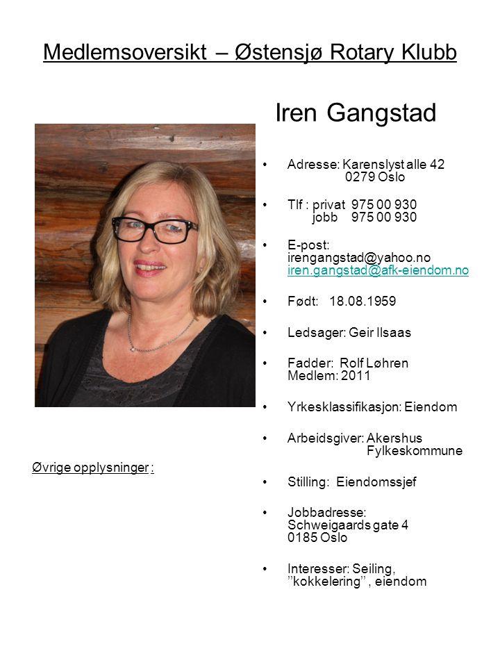 Medlemsoversikt – Østensjø Rotary Klubb Iren Gangstad •Adresse: Karenslyst alle 42 0279 Oslo •Tlf : privat 975 00 930 jobb 975 00 930 •E-post: irengan