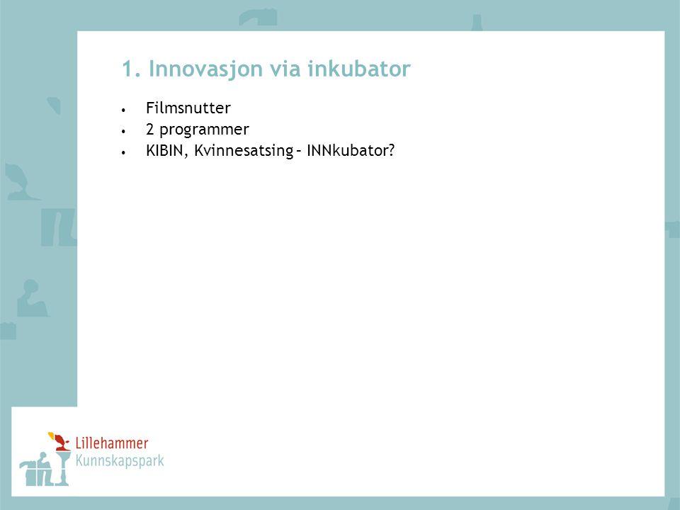 1. Innovasjon via inkubator • Filmsnutter • 2 programmer • KIBIN, Kvinnesatsing – INNkubator?