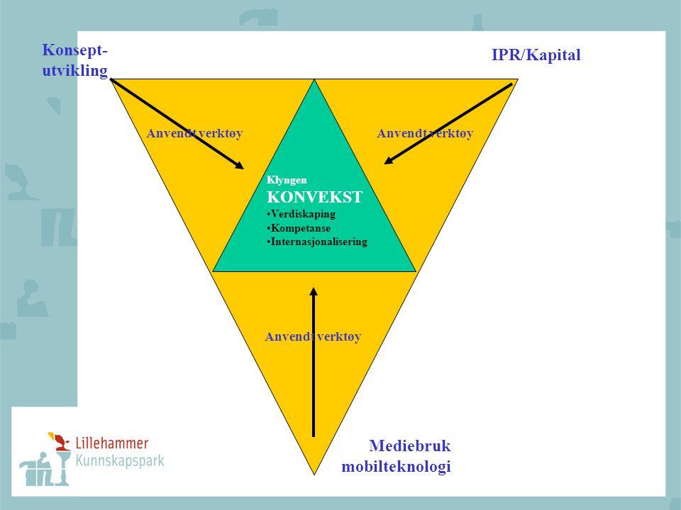 Klyngen KONVEKST •Verdiskaping •Kompetanse •Internasjonalisering IPR/Kapital Konsept- utvikling Mediebruk mobilteknologi Anvendt verktøy