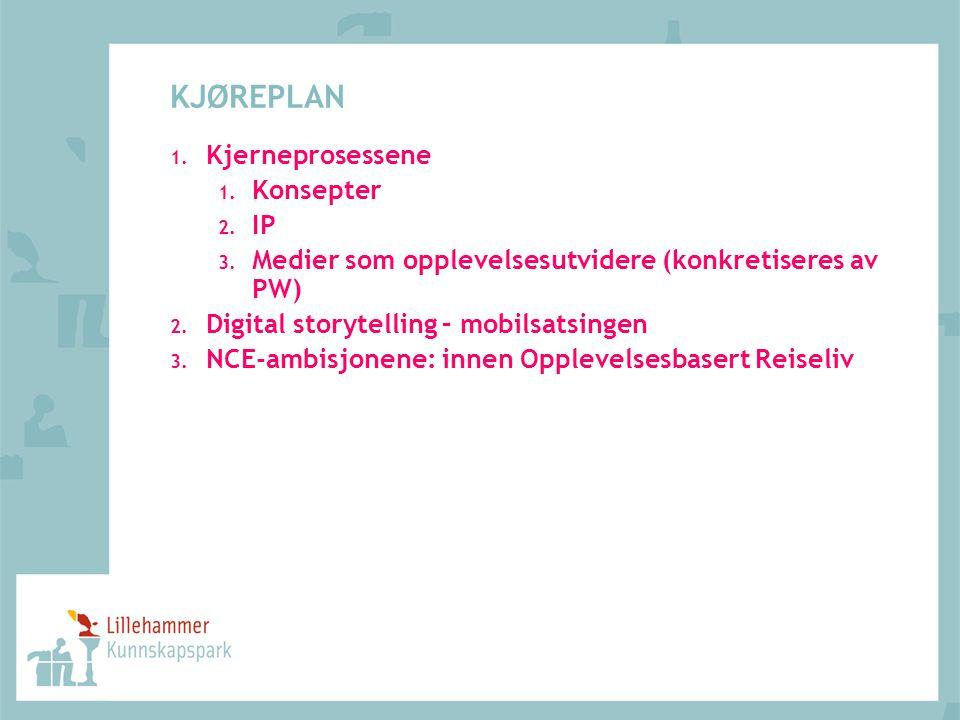 KJØREPLAN 1. Kjerneprosessene 1. Konsepter 2. IP 3. Medier som opplevelsesutvidere (konkretiseres av PW) 2. Digital storytelling – mobilsatsingen 3. N