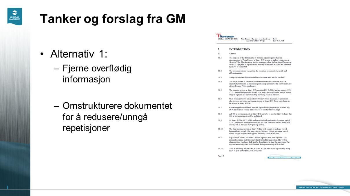 Tanker og forslag fra GM •Alternativ 1: –Fjerne overflødig informasjon –Omstrukturere dokumentet for å redusere/unngå repetisjoner