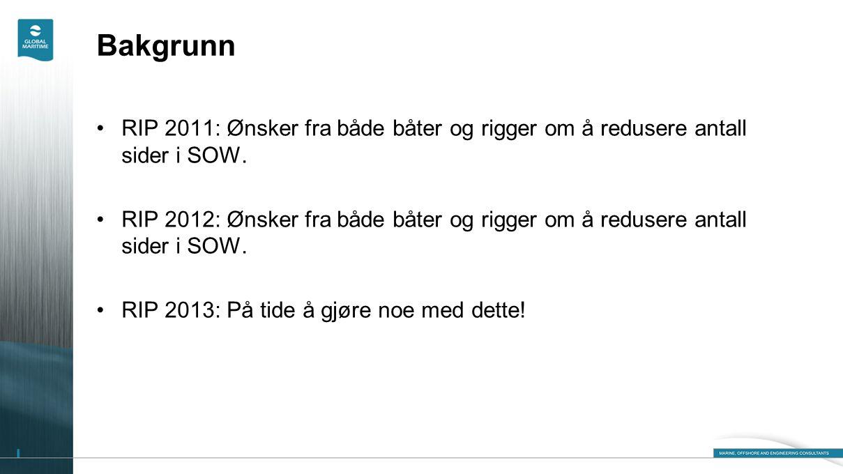 Bakgrunn •RIP 2011: Ønsker fra både båter og rigger om å redusere antall sider i SOW. •RIP 2012: Ønsker fra både båter og rigger om å redusere antall