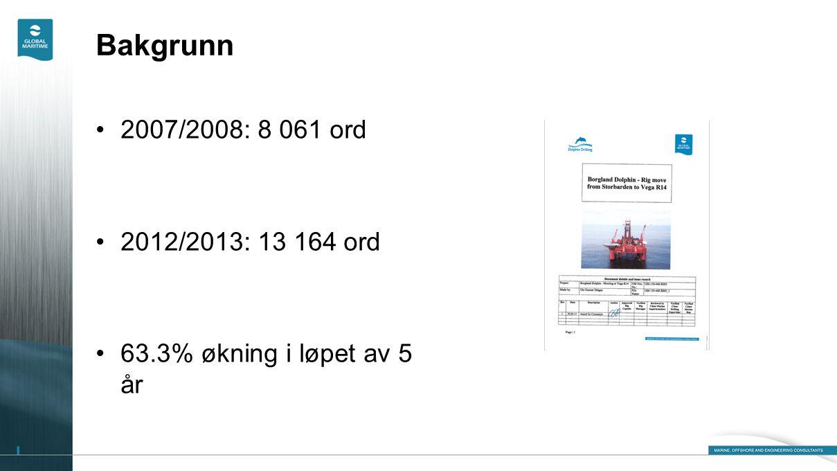 Bakgrunn •2007/2008: 8 061 ord •2012/2013: 13 164 ord •63.3% økning i løpet av 5 år