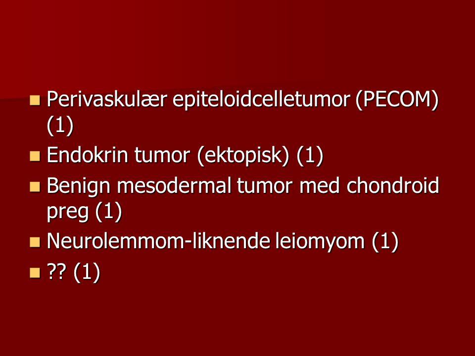  Perivaskulær epiteloidcelletumor (PECOM) (1)  Endokrin tumor (ektopisk) (1)  Benign mesodermal tumor med chondroid preg (1)  Neurolemmom-liknende