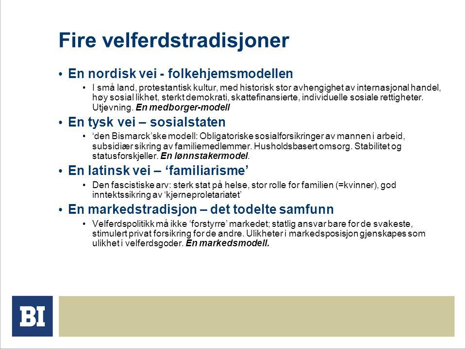 Fire velferdstradisjoner • En nordisk vei - folkehjemsmodellen • I små land, protestantisk kultur, med historisk stor avhengighet av internasjonal handel, høy sosial likhet, sterkt demokrati, skattefinansierte, individuelle sosiale rettigheter.