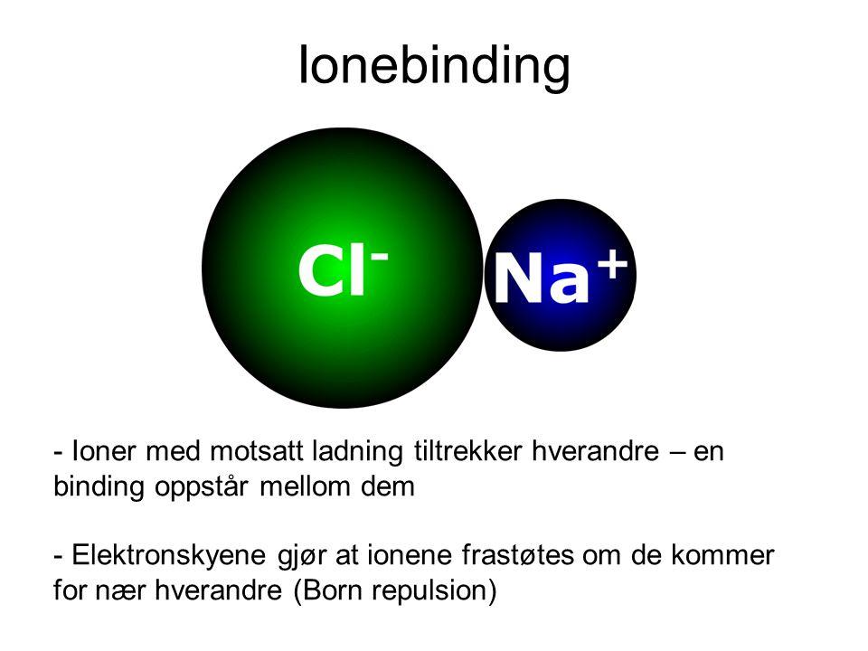 Ionebinding - Ioner med motsatt ladning tiltrekker hverandre – en binding oppstår mellom dem - Elektronskyene gjør at ionene frastøtes om de kommer for nær hverandre (Born repulsion)