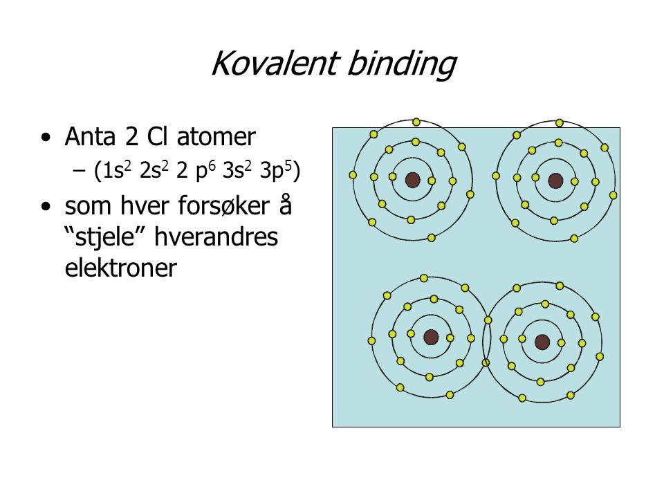 Kovalent binding •Anta 2 Cl atomer –(1s 2 2s 2 2 p 6 3s 2 3p 5 ) •som hver forsøker å stjele hverandres elektroner