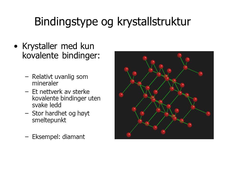Bindingstype og krystallstruktur •Krystaller med kun kovalente bindinger: –Relativt uvanlig som mineraler –Et nettverk av sterke kovalente bindinger uten svake ledd –Stor hardhet og høyt smeltepunkt –Eksempel: diamant