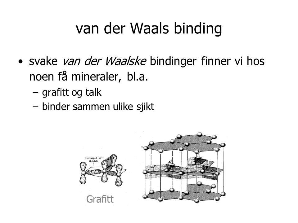 van der Waals binding •svake van der Waalske bindinger finner vi hos noen få mineraler, bl.a.