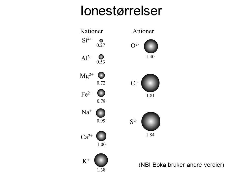 Ionestørrelser (NB! Boka bruker andre verdier)