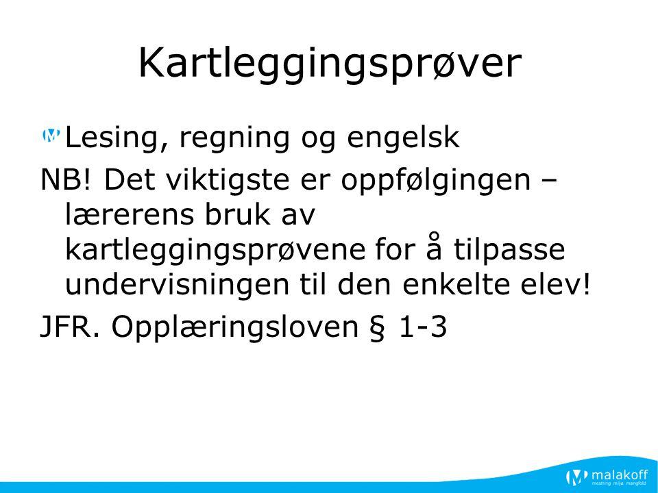 Kartleggingsprøver Lesing, regning og engelsk NB.