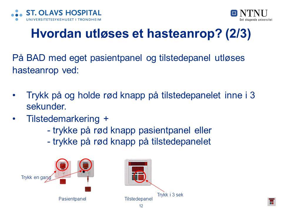 12 Hvordan utløses et hasteanrop? (2/3) På BAD med eget pasientpanel og tilstedepanel utløses hasteanrop ved: •Trykk på og holde rød knapp på tilstede