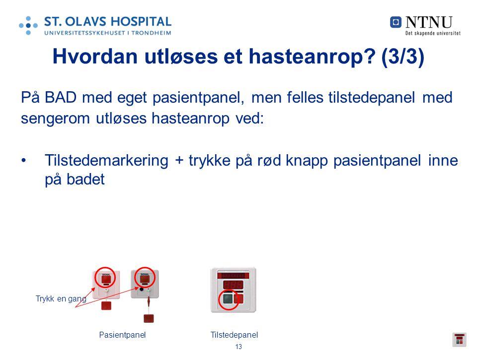 13 Hvordan utløses et hasteanrop? (3/3) På BAD med eget pasientpanel, men felles tilstedepanel med sengerom utløses hasteanrop ved: •Tilstedemarkering