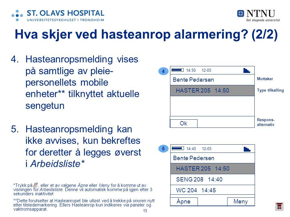 15 Hva skjer ved hasteanrop alarmering? (2/2) 4.Hasteanropsmelding vises på samtlige av pleie- personellets mobile enheter** tilknyttet aktuelle senge
