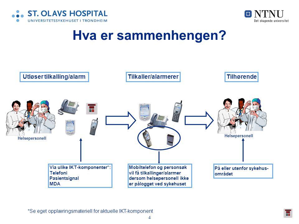 4 Hva er sammenhengen? Tilkaller/alarmererUtløser tilkalling/alarm Via ulike IKT-komponenter*: Telefoni Pasientsignal MDA Helsepersonell *Se eget oppl
