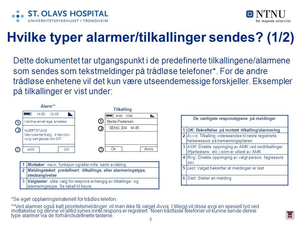 5 Hvilke typer alarmer/tilkallinger sendes? (1/2) Dette dokumentet tar utgangspunkt i de predefinerte tilkallingene/alarmene som sendes som tekstmeldi