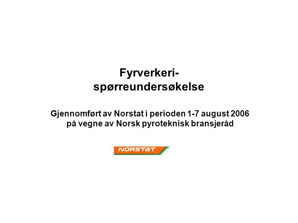 Fyrverkeri- spørreundersøkelse Gjennomført av Norstat i perioden 1-7 august 2006 på vegne av Norsk pyroteknisk bransjeråd