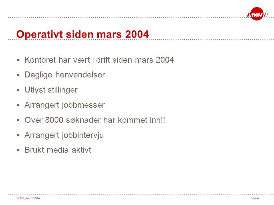 NAV, 04.07.2014Side 4 Operativt siden mars 2004  Kontoret har vært i drift siden mars 2004  Daglige henvendelser  Utlyst stillinger  Arrangert job