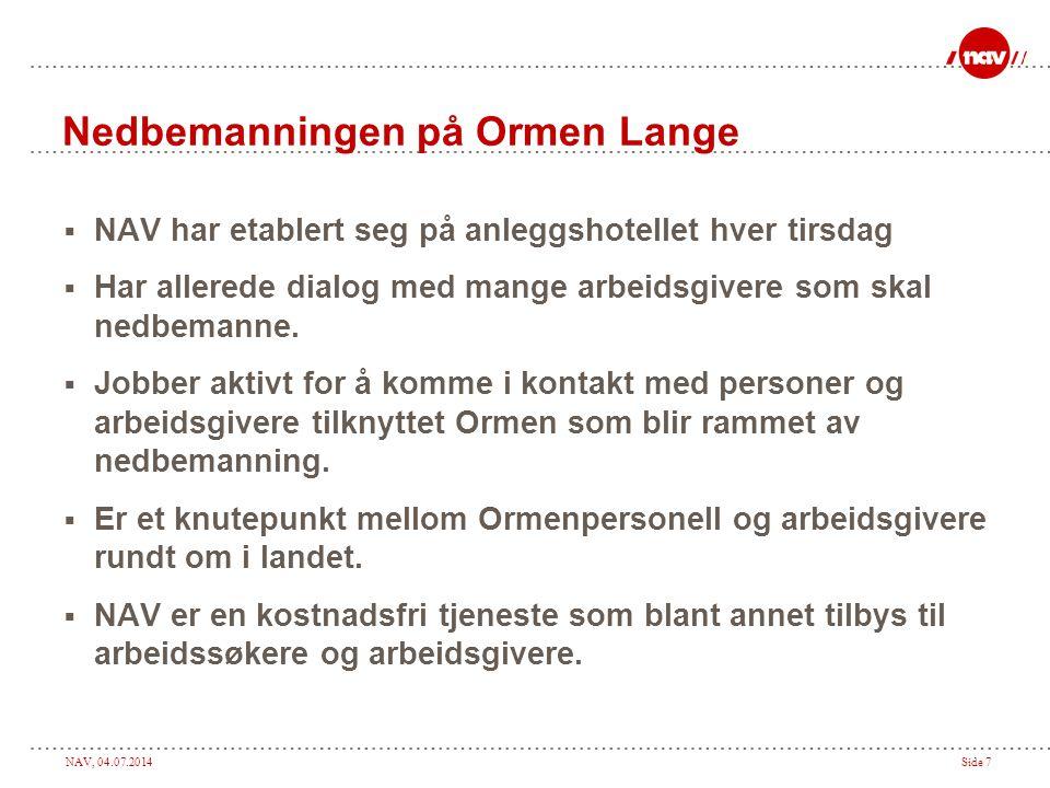 NAV, 04.07.2014Side 7 Nedbemanningen på Ormen Lange  NAV har etablert seg på anleggshotellet hver tirsdag  Har allerede dialog med mange arbeidsgive