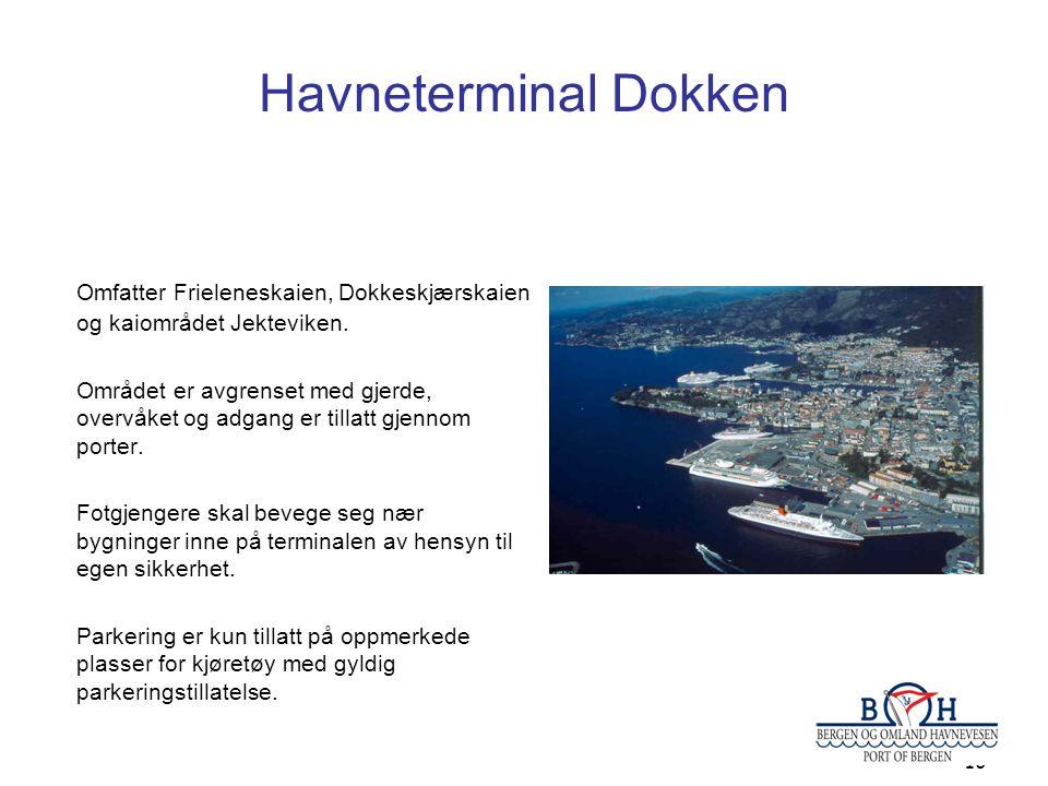 10 Havneterminal Dokken Omfatter Frieleneskaien, Dokkeskjærskaien og kaiområdet Jekteviken. Området er avgrenset med gjerde, overvåket og adgang er ti