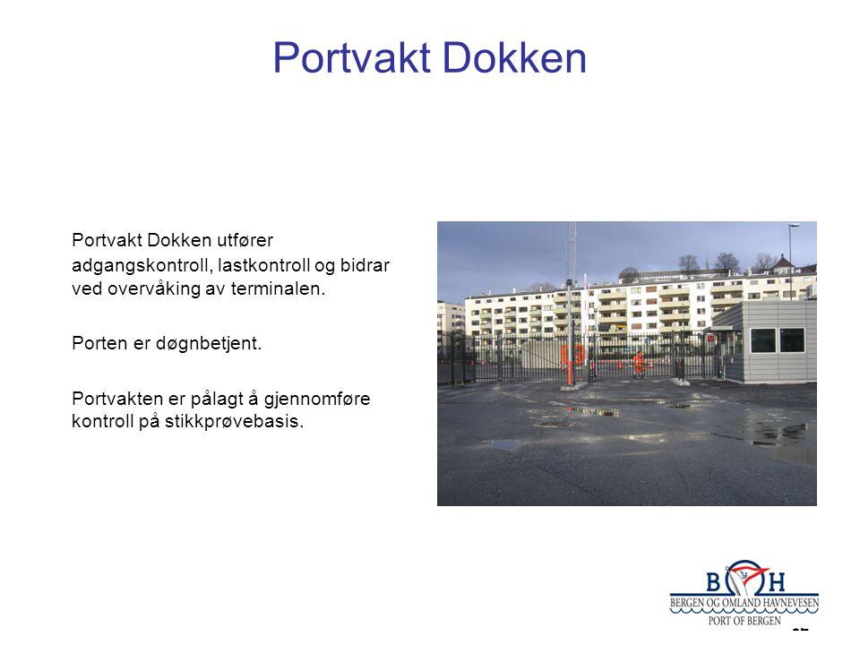 12 Portvakt Dokken Portvakt Dokken utfører adgangskontroll, lastkontroll og bidrar ved overvåking av terminalen. Porten er døgnbetjent. Portvakten er