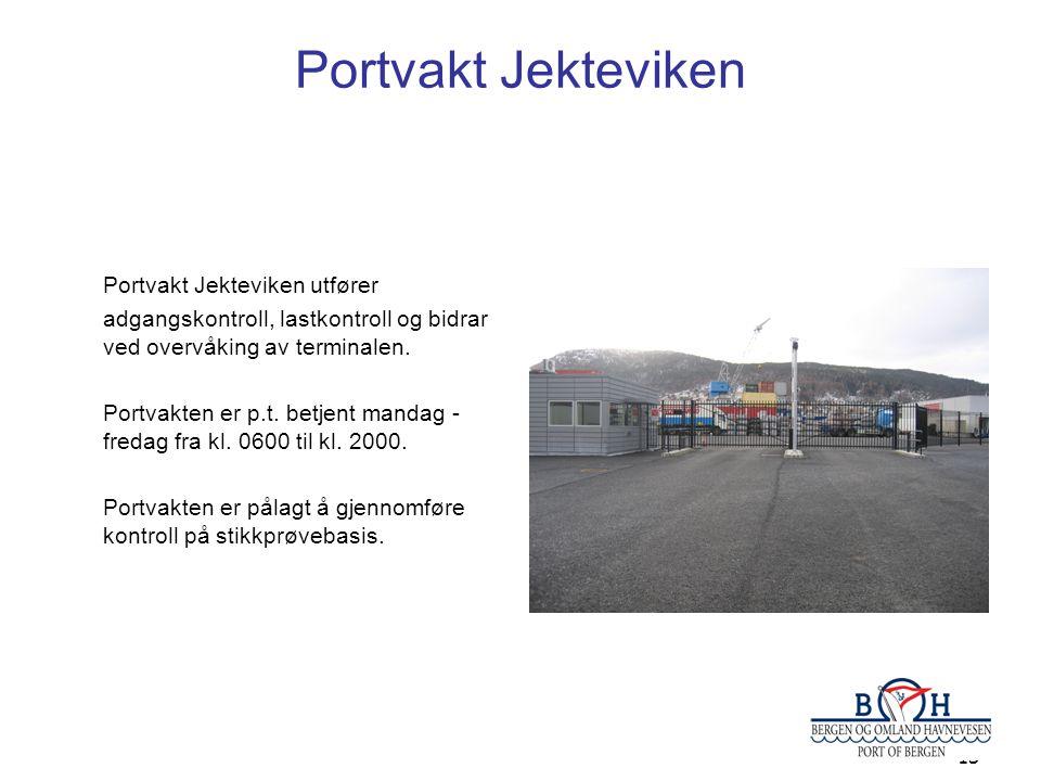 13 Portvakt Jekteviken Portvakt Jekteviken utfører adgangskontroll, lastkontroll og bidrar ved overvåking av terminalen. Portvakten er p.t. betjent ma