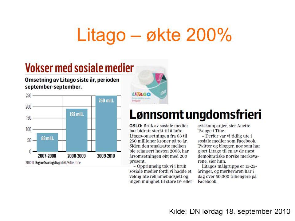 Litago – økte 200% Kilde: DN lørdag 18. september 2010