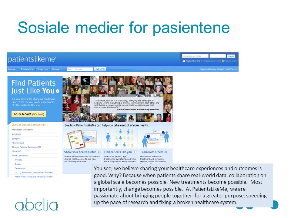 Sosiale medier for pasientene You see, we believe sharing your healthcare experiences and outcomes is good.
