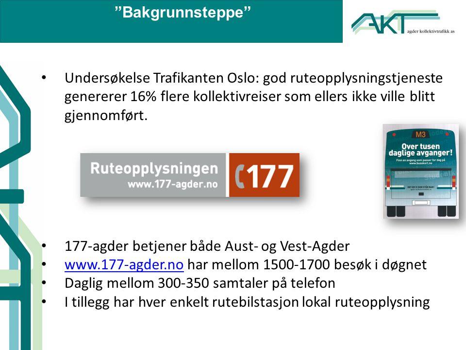Bakgrunnsteppe • Reiseplanleggeren/rutedatabasen inneholder i informasjon fra i overkant av 150 ruter i alle kategorier i Vest-Agder og Aust-Agder (lokalbusser, ekspressbusser, nattbusser, flybusser, bestillingsruter) • Flere tusen holdeplasser • Tre tilrettelagte linjer i Kristiansand hvor både holdeplass og bussmateriell er tilrettelagt (frakter i overkant av 60 % av passasjerene i Kristiansand).