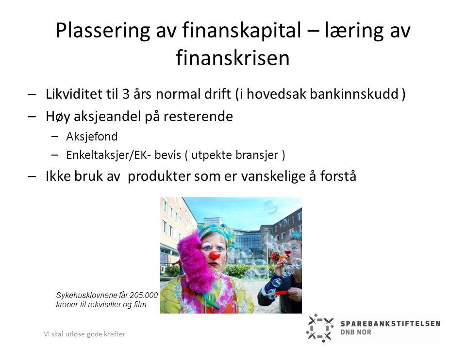 Plassering av finanskapital – læring av finanskrisen –Likviditet til 3 års normal drift (i hovedsak bankinnskudd ) –Høy aksjeandel på resterende –Aksj