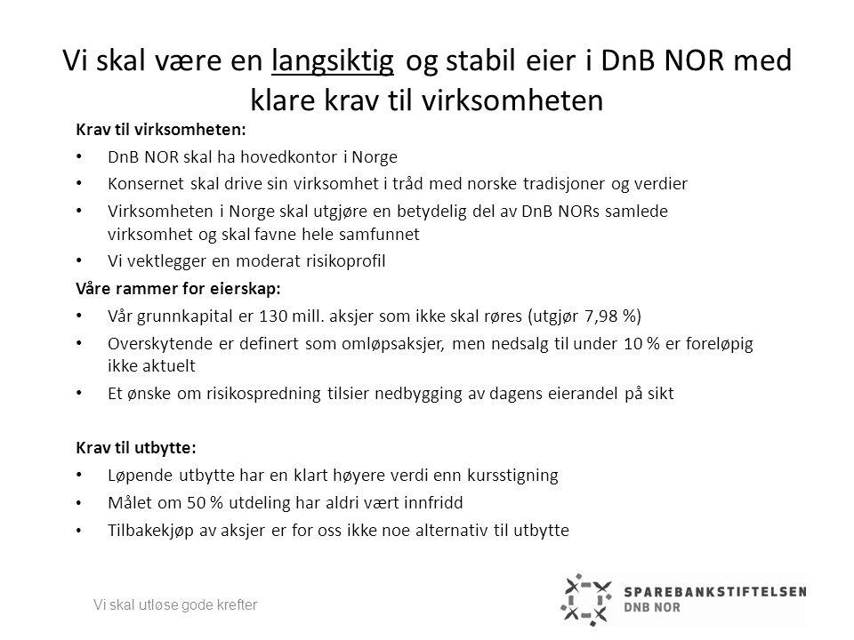 Vi skal være en langsiktig og stabil eier i DnB NOR med klare krav til virksomheten Krav til virksomheten: • DnB NOR skal ha hovedkontor i Norge • Kon